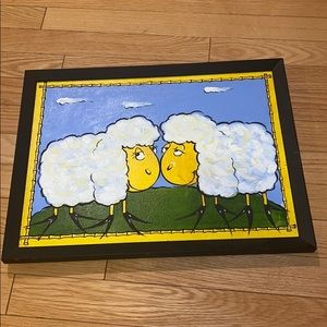 Sheeps painting with black frame